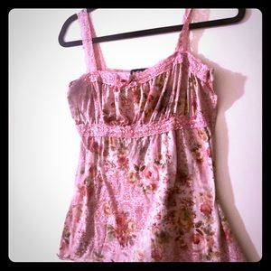 Vintage rose print pink cami top with lace detail